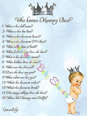 Baby Shower Game Who Knows Mummy Best LITTLE PRINCE 10 20 30 40 50 Players