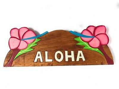 """""""Aloha"""" w/ Hibiscus Wooden Sign 11"""" X 4.5"""" - Pink 