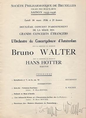 Bruno Walter Signed German Conductor Pianist Composer Programme 1936 Very Rare