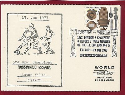 Aston Villa 3Rd Division Champions 1971-2 Football Cover 13.1.73 3P Stamp(M)