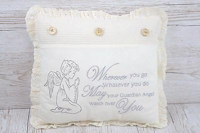 Guardian Angel Cushion Christening Nursery Decoration Baby Shower Cream FD2175