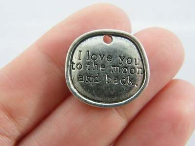 2 Love You to the Moon and Back Charms Antique Silver Tone SC6272