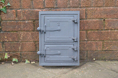 35 x 26 cm old cast iron fire bread oven door/doors /flue/clay/range/pizza