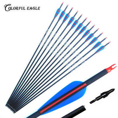 """30"""" Carbon Arrows with Replaceable Arrowheads Spine 500 for Recurve/Compound Bow"""