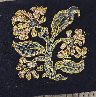 Embroidered Slip C17th Jacobean Embroidered StumpWork  Flower RARE