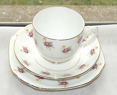 Blyth Porcelain Co Diamond China Trio Cup Saucer Plate Pink Rosebuds