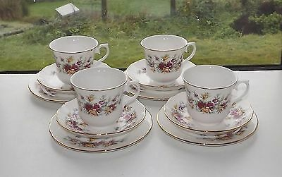 Queen Anne English China Vintage 4 x Trios Cup Saucer Plate Pink & Yellow  Roses