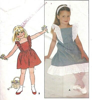 Vintage Girl's Flutter Sleeve Apron Style Summer Sun Dress Sewing Pattern