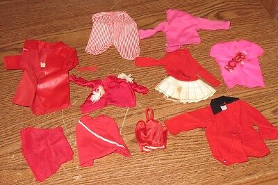 Vintage Barbie Doll Clothing Clothes Lot 10 Pc Reds Old Used Set