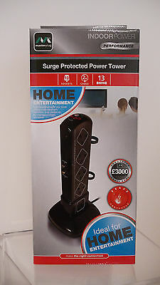 Masterplug 10-Gang Tower Surge-Protected Socket with 2m Extension Lead and Coax