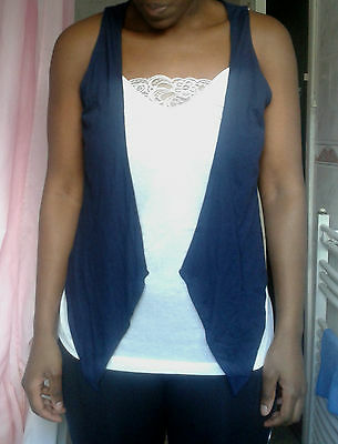 CLEARANCE wholesale joblot ladies womens 20 M&S navy blue waistcoats tops NEW