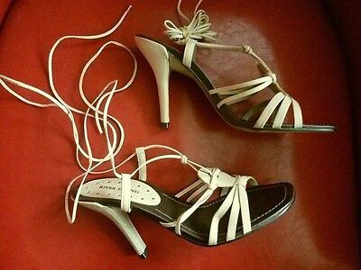 RIVER ISLAND - Nude Leather Strappy Lace-Up High Heel Sandals NWOB - 6 UK  (39)