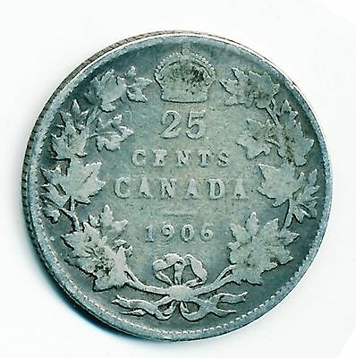 1906 Canada 25 Cents Coin - Circulated, Silver