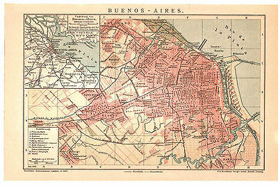 Antique map. ARGENTINA. CITY PLAN OF BUENOS AIRES. Circa 1904