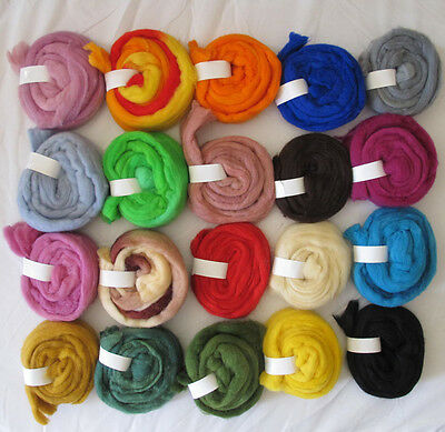 Fine Needle Felting Wool 5g 10g 20g 50g Spinning Roving Wet Tops 21 mic