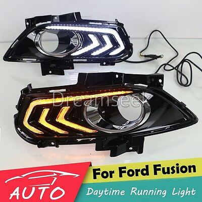Drl Led Daytime Running Light Fog Lamp For Ford Fusion Mondeo W Turn Signal 2014