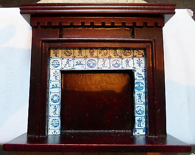 Large Dolls House Wooden Fire Place With Tile Effect