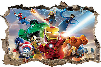 Lego Marvel Superheroes Smashed Hole In Wall 3D Sticker Art Decal