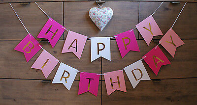 Happy Birthday Party Bunting Banner Decoration Gold Girl Pink Blue Boy First 1st