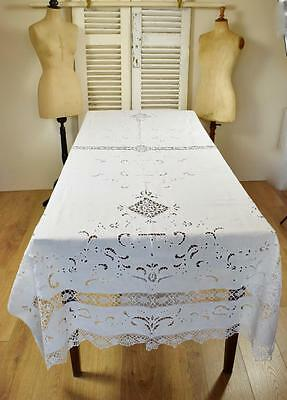 Exquisite Antique French Hand Made Lace, Linen Broderie Anglais Tablecloth 19thC