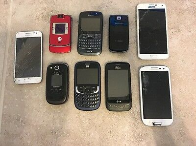 Lot Of (9) Untested Cell Phones Broken Parts Only
