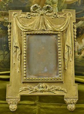 Magnificent Antique French Heavy Brass Picture / Photo Frame, Bow, Ribbon, Swags