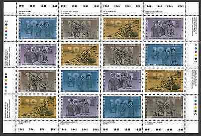 Canada Stamps - Full Pane of 16 - Second World War-1941 #1345-1348 - MNH