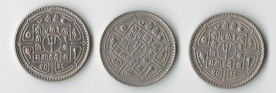 1977 1980 set of 3 Nepal One Rupee Copper Nickel coins Trident & Dagger Asia