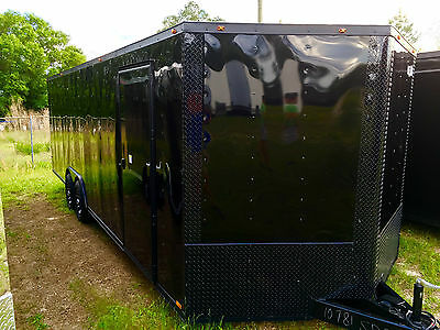 New 2017 8.5X24 V-Nose Enclosed Cargo Blacked Out Trailer Car Toy Hauler 8.5X24