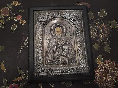 Rare old Byzantine style Art pure solid silver 950 hand painted St Nicholas Icon