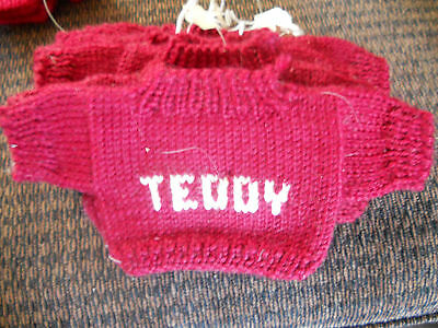 Knitted Sweater for Teddy Bear Burgundy with TEDDY in off White