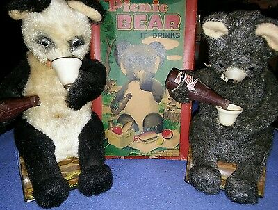 """""""ALPS"""" -  Made in Japan BATTERY Operated Drinking Bears(2) w/1 orig Box- NICE!"""