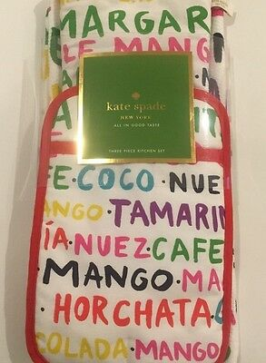 "kate spade new york ""Flavor of the Month "" mitt, pot holder, kitch towel, 3/ set"