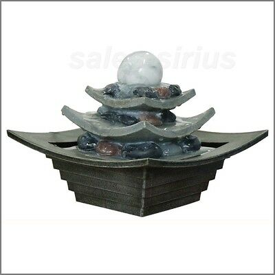 Tabletop Water Fountain Indoor Feature Cascade Fall 3-Tier Oriental Office Decor