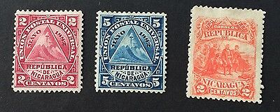 3 beautiful old stamps 1892Nicaragua