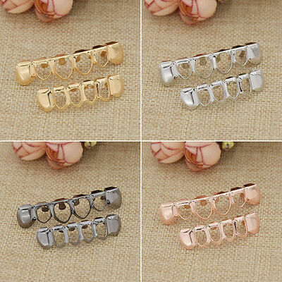 Hollow Out Hip Hop Teeth Top Bottom Grills Set Unisex Body Jewelry Golden