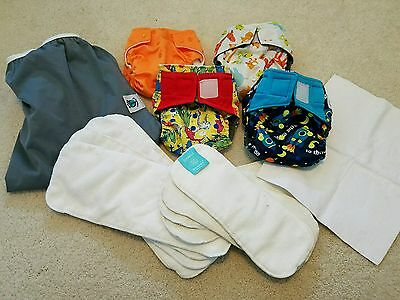 LOT KAWAII + BAMBOO PLANET WISE One Size Pocket Cloth Diapers Girl Boy L Wet Bag