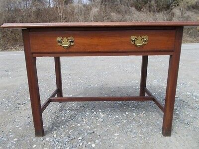 Antique American Walnut Stretcher Base Tavern Table with a Drawer ~ Virginia