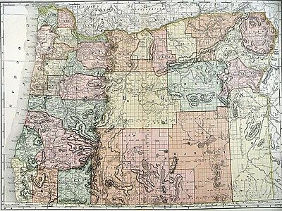 1895 Map of Oregon Rand McNally & Co Color Lithograph Engraving Large Doublepage