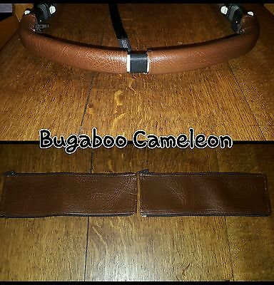 Bugaboo Cameleon 1 2 3 faux leather zip on handle bar covers in BROWN