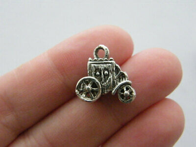 12 Baby Carriage Charms Antique Silver Tone SC486