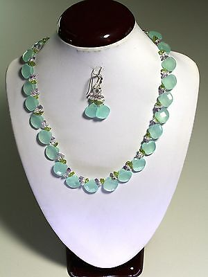 """Natural Chalcedony Faceted Heart Briolette Gemstone Necklace 18""""-20"""" inches"""