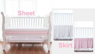 100% Combed Cotton Sateen Crib Sheet and/or Skirt Pink and/or White Single / Set