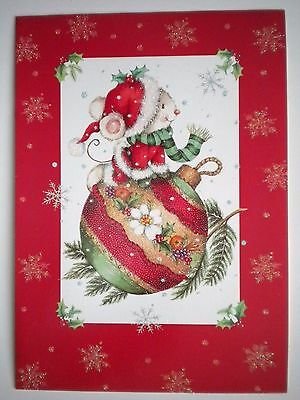 """Paper Magic ~ GLITTERY """"MOUSE ON BAUBLE"""" CHRISTMAS GREETING CARD w/ENVELOPE"""