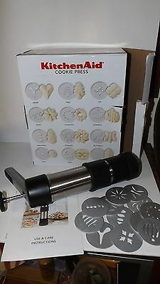 Kitchen Aid Cookie Press - Stainless Steel - 12 assorted shapes