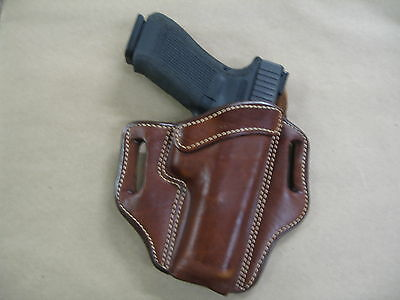 Glock 17, 22, 31 OWB Leather 2 Slot Molded Pancake Belt Holster CCW TAN RH