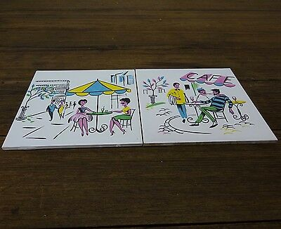 2x VINTAGE CERAMIC KITCHEN TILES FEATURING FRENCH CAFE SCENES