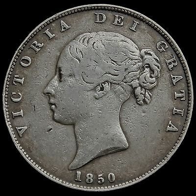 1850 Queen Victoria Young Head Silver Half Crown, Scarce, AVF
