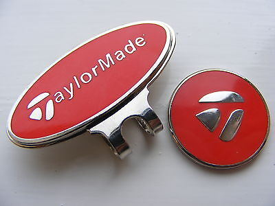 Taylormade magnetic golf ball marker with matching clip    (red)    .36