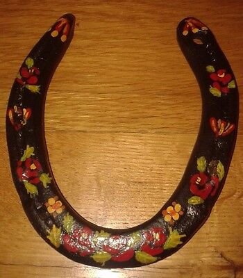 Vintage Hand Painted Black Horseshoe Canalware Flowers Folk Art  Good Luck Charm